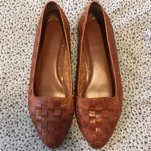 Vintage Woven Leather Loafer Flat Shoe